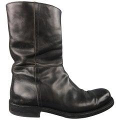 Yves Saint Laurent Black Leather Biker Boots / Shoes