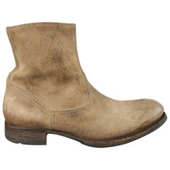 N.D.C. Beige Distressed Leather Rubber Sole Ankle Boots