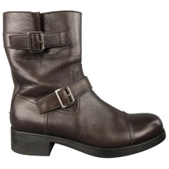 Prada Dark Brown Solid Leather Biker Boots / Shoes