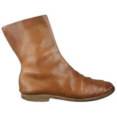 Guidi Tan Distressed Leather Ankle Boots / Shoes
