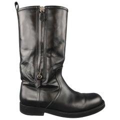 Ralph Lauren Black Leather Tall Double Zip Biker Boots / Shoes