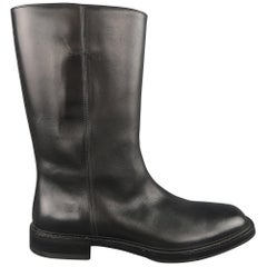 Prada Boots Black Leather Tall Pull On Boots / Shoes