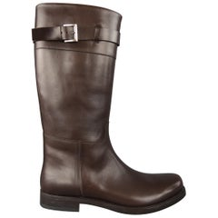 Prada Brown Leather Tall Buckle Men's Boot / Shoe