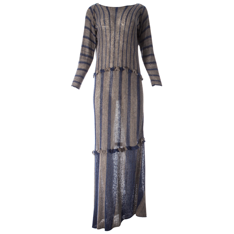 Issey Miyake striped knitted maxi dress, ss 1984