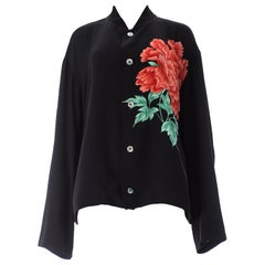 Yohji Yamamoto Pour Homme black loose cut shirt with red floral print, S/S 1996