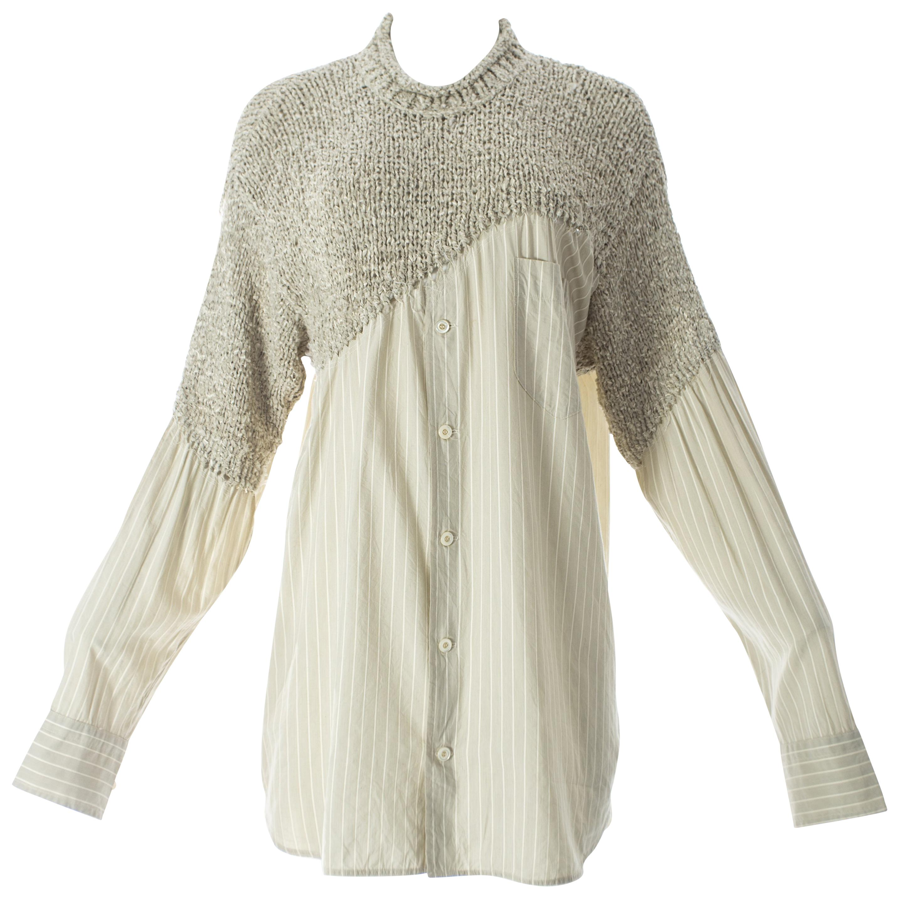 Matsuda knitted sweater with attached striped shirt, circa 1990