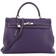 Hermes Kelly Handbag Iris Purple Togo with Palladium Hardware 35