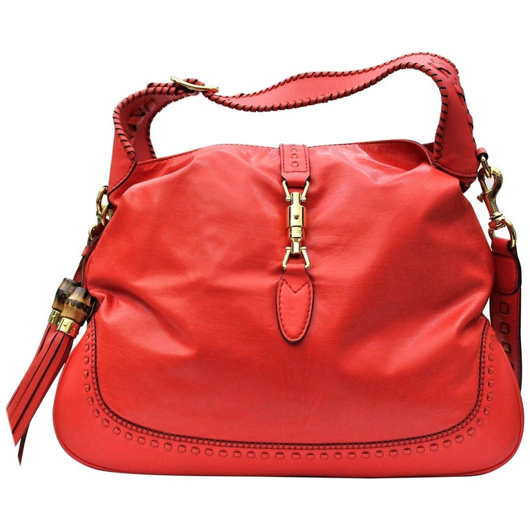 Gucci Red Leather Shoulder Bag For Sale