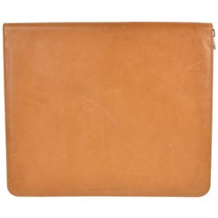 Brunello Cucinelli Mens Cognac Brown Grained Leather Document Holder