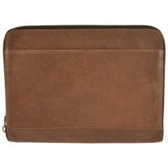 Brunello Cucinelli Men's Dark Brown Grained Leather Document Holder