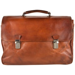 Brunello Cucinelli Men's Large Brown Leather Briefcase