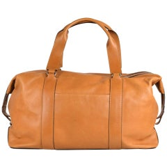 Brunello Cucinelli Men's Solid Tan Brown Leather Holdall Travel Bag