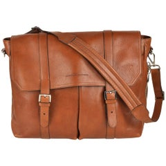 Brunello Cucinelli Large Brown Grained Leather Expandable Messenger Bag