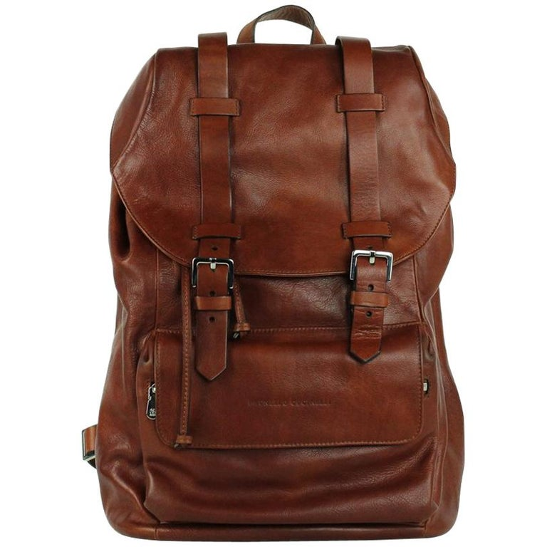 Brunello Cucinelli Solid Burnt Red Leather Full Rucksack Backpack