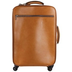 Brunello Cucinelli Cognac Brown Grained Leather Trolley Suitcase Bag