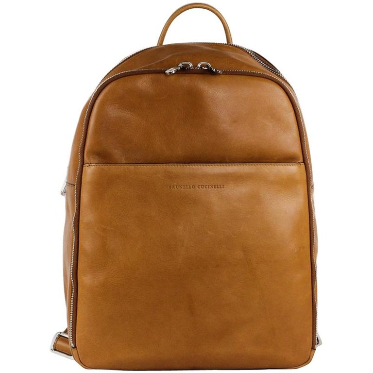 Brunello Cucinelli Men's Solid Tan Leather Full Backpack