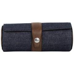 Brunello Cucinelli Men's Denim Leather Button Snap Watch Roll