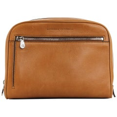 Brunello Cucinelli Men's Light Cognac Brown Leather Wash Bag