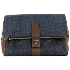 Brunello Cucinelli Mens Brown Leather Denim Wash Bag