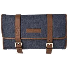 Brunello Cucinelli Men's Denim Leather Travel Fold Up Garment Bag