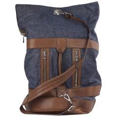 Brunello Cucinelli Men's Canvas Brown Leather Duffle Bag
