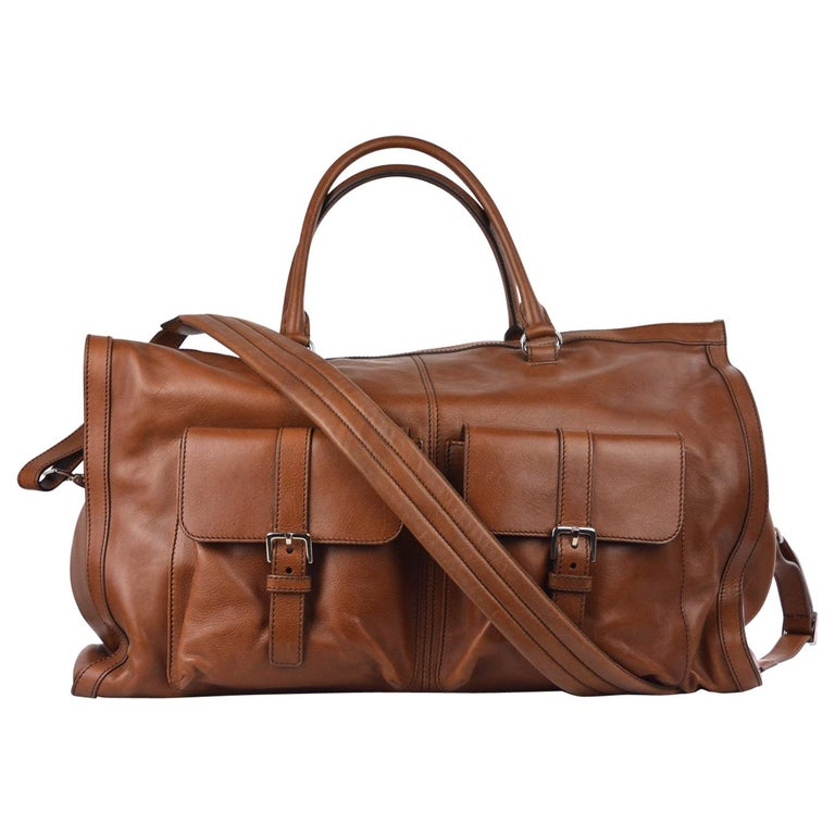 Brunello Cucinelli Mens Tan Leather Travel Fold Up Garment Bag For