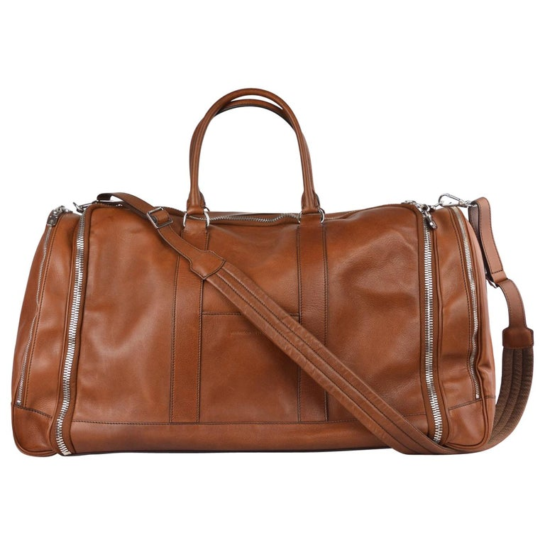 b1b913a11a Brunello Cucinelli Men s Brown Leather Travel Fold Up Garment Bag
