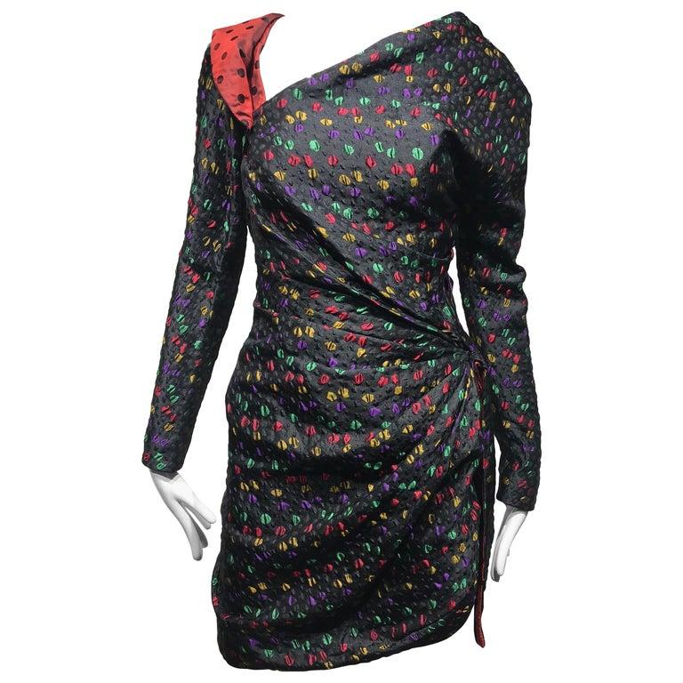 Givenchy Haute Couture Black Multi Color Dots Vintage Silk Dress