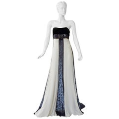 Valentino Red Carpet Runway Black & White Beaded Dress Gown