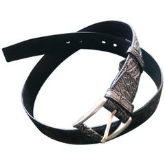 Crocodile belt for men with 4 cm Made in Italy buckle
