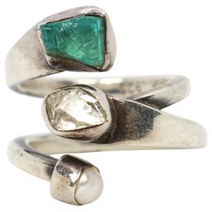 Modernist Lilly Barrack Sterling Bypass Ring- Quartz, Cultured Pearl, Apatite