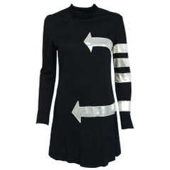 1960's Michael Mott for Paraphernalia Silver Mod Arrows Black Jersey Mini Dress
