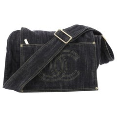 Chanel Vintage CC Flap Messenger Bag Denim Medium