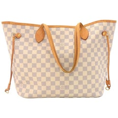Louis Vuitton Neverfull MM White Damier Azur Canvas Tote Bag