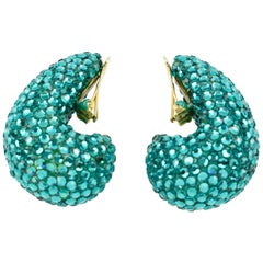 Richard Kerr Nautilus Shaped Turquoise Crystal Paved Clip on Earrings, 1980s