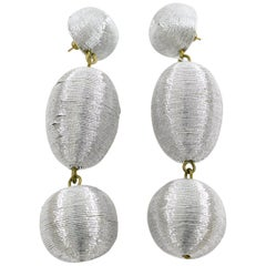 Disco Time Oversized Dangling Silver Metallic Thread Pierced Earrings