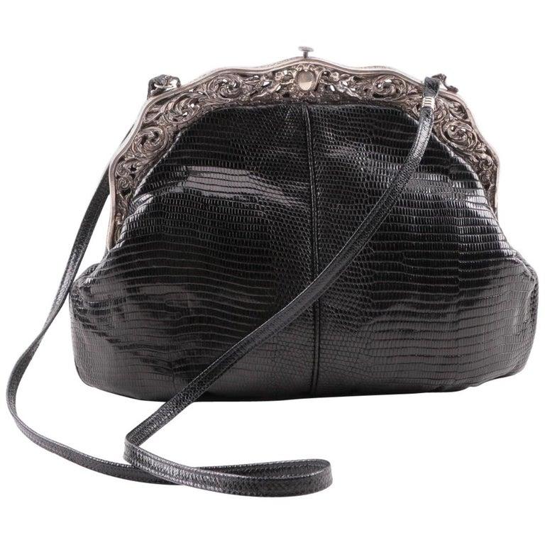 Black Lizard skin Handbag with Antique 1905 Gorham Sterling Silver Cherub Frame