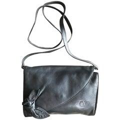 Valentino Garavani Vintage Black nappa leather bow clutch purse / shoulder bag