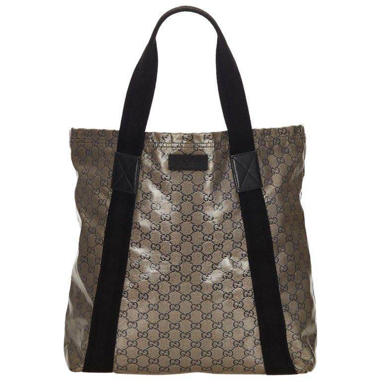 d64894e2fb2 Gucci Brown x Black Guccissima Coated Canvas Tote Bag at 1stdibs