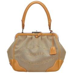 Prada Brown Logo Jacquard Shoulder Bag