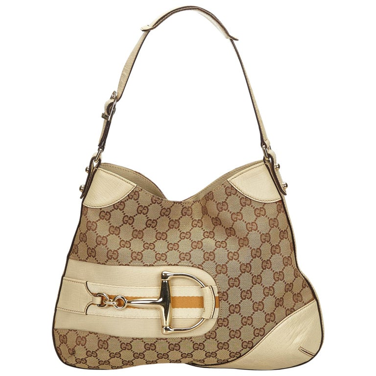5899fdbd45b7 Gucci Beige x White x Jacquard Hasler Horsebit Hobo Bag at 1stdibs