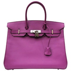Hermès Birkin 35 Cyclamen Epsom Top Handle Bag