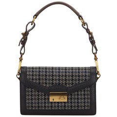 Prada Black x Gray Wool Houndstooth Baguette