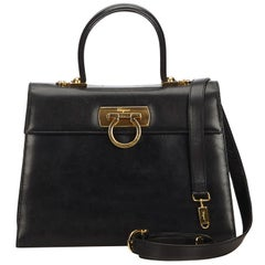 Ferragamo Black Calf Leather Gancini Satchel