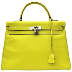 Hermès Kelly 35 Epsom Candy Series Lime color Top Handle Bag