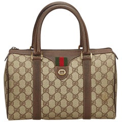 Gucci Brown x Beige Guccissima Web Canvas Boston Bag