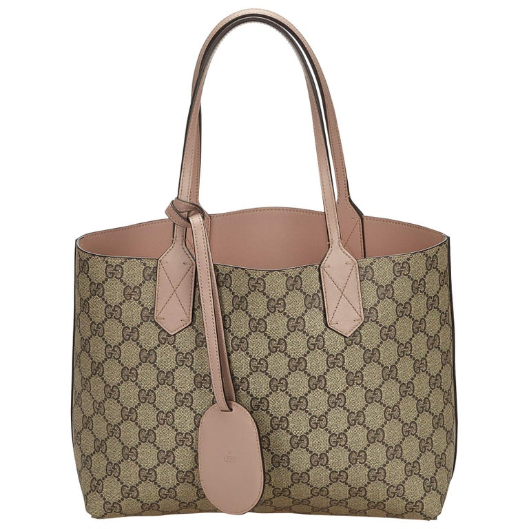 3d49b5be18 Gucci Brown x Dark Brown x Pink Reversible Guccissima Small Tote