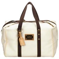 Louis Vuitton White x Brown Antigua Sac Weekend