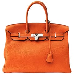 Hermès Birkin 35 Orange Togo Top Handle Bag