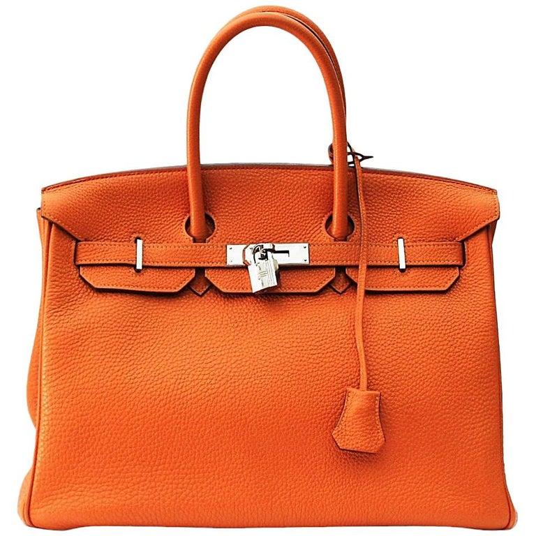 Hermès Birkin 35 Orange Togo Top Handle Bag For Sale